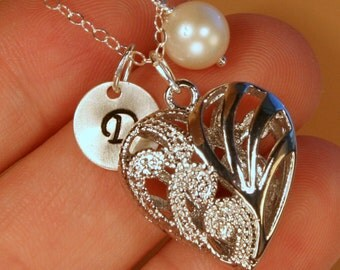 Silver Tone Heart with Personalized Initial and Freshwater Pearl; Christmas Gift for Mom