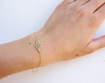 Gold Bracelet, Gold Hamsa Bracelet, Hamsa Bracelet, Hamsa HandBracelet, Evil eye Bracelet, Luck Bracelet, Dainty bracelet, hamsa jewelry