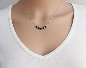 Bridesmaid Swarovski necklace, Bridesmaid crystals necklace, Swarovski necklace, Black necklace, wedding jewelry, Floating Crystals