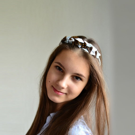 Felt Headband with Feathers / Women headpiece - Grey & Brown
