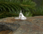 Sailboat Stacking Ring Nautical Jewelry Silver Ring Sailing Jewelry