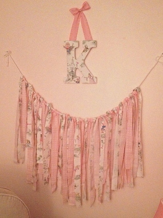 Items similar to nursery rhyme toile fabric garland banner for Toile shabby chic