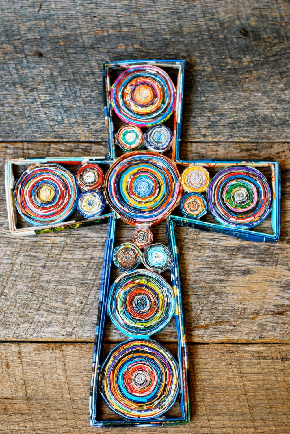 Paper Cross Wall Hanging Small Colorful Recycled Paper