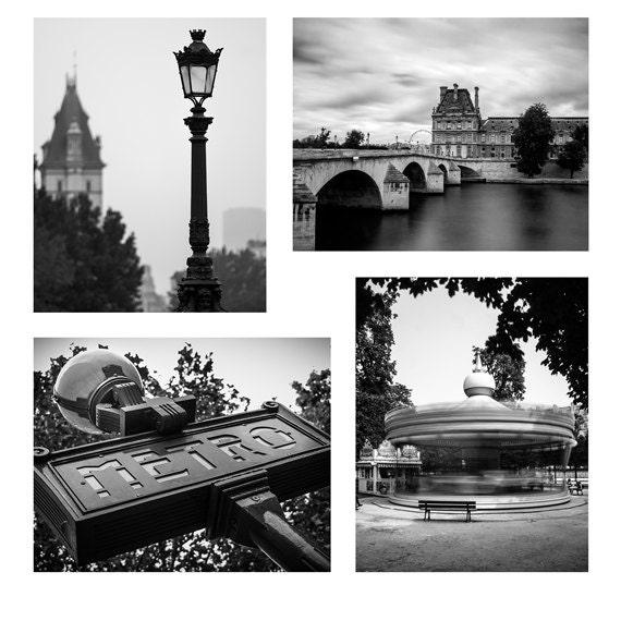 Paris Photograph  Paris  France French Photography Parisian Gift Set Black and White  4 5x7 8X10 - Fine Art Prints - Home Decor