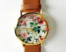 Floral Watch, SALE! Women Watches, Vintage Style Leather Watch, Unisex Watch, Boyfriend Watch,  Personalized Watch, Unique Watches, Spring