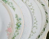 Vintage Mismatched China Dinner Plates | Set of 5