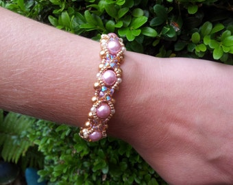 Pink and Gold Pearl and Swarovski Bracelet