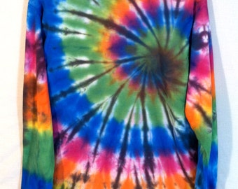 Tie Dye Longsleeve Shirt - Stained Glass Inverted Colorful Spiral - Festivalwear Hippie Shirt
