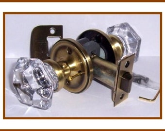 Crystal Door Knob Set - 6 Point Princess Old Town Knob - Top of the Line! Solid Brass Hardware topped with Your Choice of 5 Premium Finishes