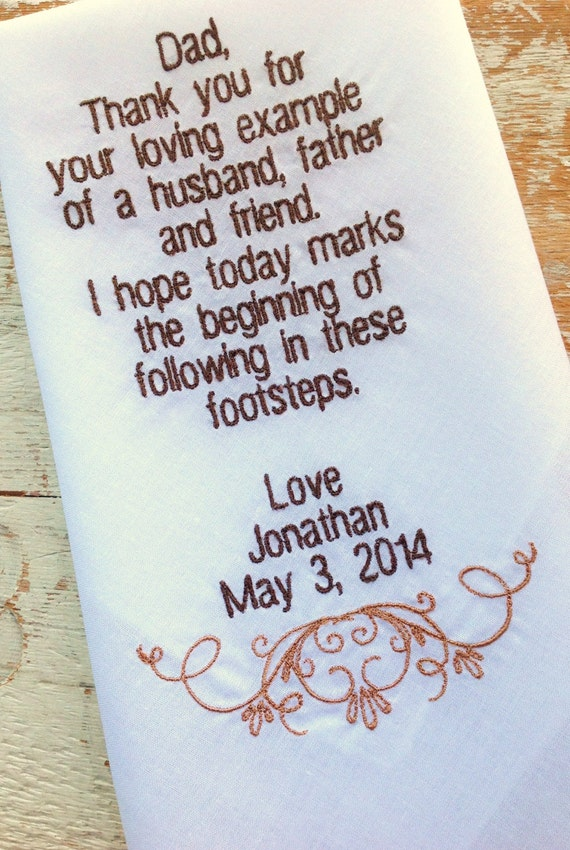 Gift For Dad On Wedding Day Handkerchief : ... DAD from Groom Son heirloom personalized hankie gift embroidery father