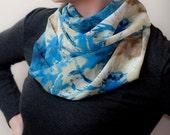 Himmelblau braun Infinity Schal abstrakten Print Schal Pastel Blue Circle Schal leicht Saphir Eternity Schal Womens Mode-Accessoires