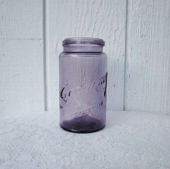Antique Sun Purple Glass Jar Kerr Economy By