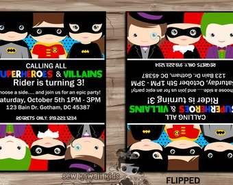 SUPERHEROES vs VILLAINS Birthday Invitation, Invite, Batman, Batgirl, Robin, Joker, Harley Quinn, Penguin, Digital Printable: JPG File