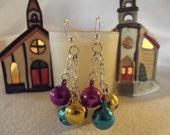 Multicolored Jingle Bell Dangle Chain Earrings