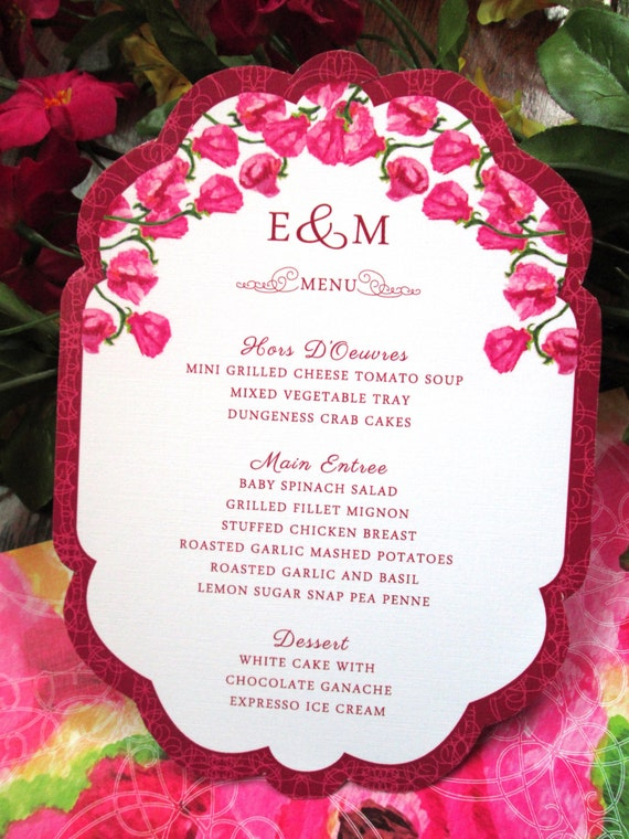 Sweet Pea Floral Wedding Reception Menu – Die-Cut - Pink, Yellow – Customized - Available in Sets/ Quantities of 25+