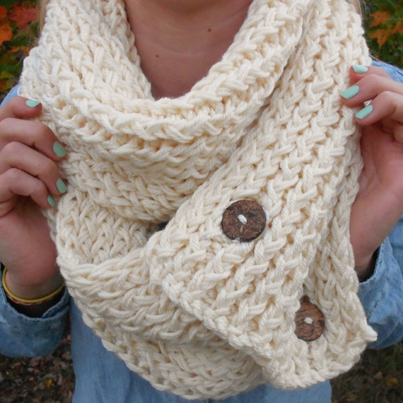 Items similar to Cream Knit Button Chunky Infinity Scarf ...