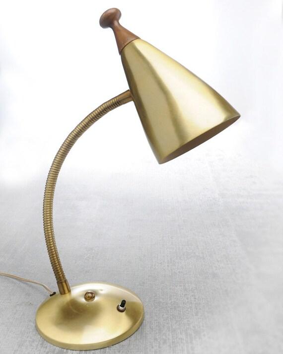 vintage desk gooseneck metal lamp mid century by vintagesmiths. Black Bedroom Furniture Sets. Home Design Ideas