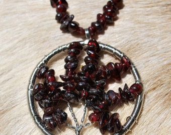 Silver and Garnet wire wrap Tree of Life