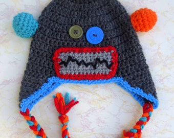 Robot Hat - Crochet Robot Hat - Robot Hat for Adults - Adult Robot hat - Adult Robot Costume - Custom Robot Hat - Red Robot hat - Robot