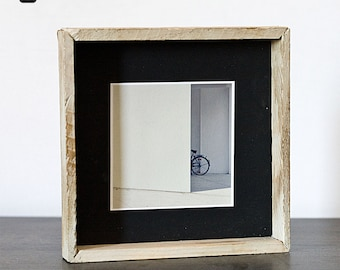 Square frame made hand crafted wood and paper with original photo or not