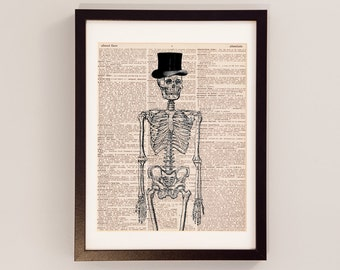 Vintage Skeleton Print - Anatomy Art - Print on Vintage Dictionary Paper - Doctor Gift - Medical School - Skeleton in a Hat - Funny Gift