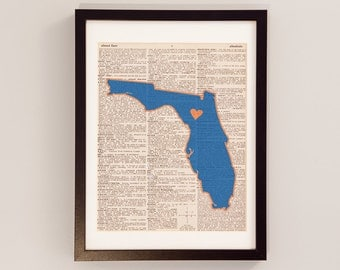 Vintage University of Florida Dictionary Print - Gainesville Art - Print on Vintage Dictionary Paper - Florida Gator Print - Graduation Gift