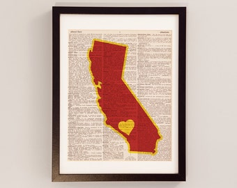 USC Dictionary Art Print - Los Angeles Art, California Art - Print on Vintage Dictionary Paper - University of Southern California Trojans