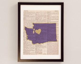 Washington Huskies Print - Seattle Art - Print on Vintage Dictionary Paper - University of Washington Huskies