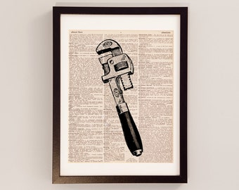 Vintage Pipe Wrench Dictionary Art Print - Plumbing Art - Gift For Plumber - Print on Vintage Dictionary Paper - Wrench Art, Tools