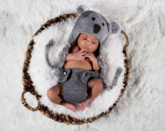 Baby koala hat, Hat and Diaper Cover, Photo Prop , Baby Photo Prop, Koala Outfit, baby shower gift.