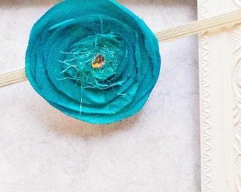 Blue poppy flower headband, Newborn Photo Prop, Baby Shower Gift,
