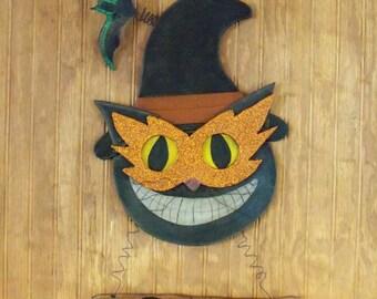 Handmade Halloween Cat Sign, Wooden Halloween Sign, Trick or Treat Sign, Black Cat Sign, Halloween Decoration, Halloween Cat, Witch Cat
