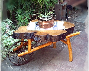 Hand Crafted Wheel Barrow Coffee Table Part 85