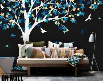 Large Maple Tree  vinyl decal, nursery vinyl  wall decal, tree wall decal, Vinyl Wall  bird stickers, vinyl mural - K024B