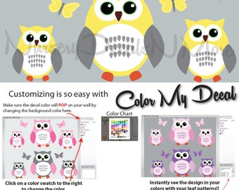 Yellow and Gray Owl Wall Stickers, Girl Owl Decals, Nursery, Baby (6 Yellow Gray)  6ROO