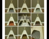 "Small Dog/Cat Teepee Pet Tent -24"" base Natural Canvas-PICK YOUR PILLOW- Ready to Make or Custom Order it - Tenthouse Suite by Vintage Kandy"