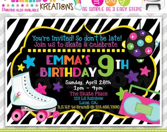 612: DIY - Zebra Print Skate Party Invitation Or Thank You Card