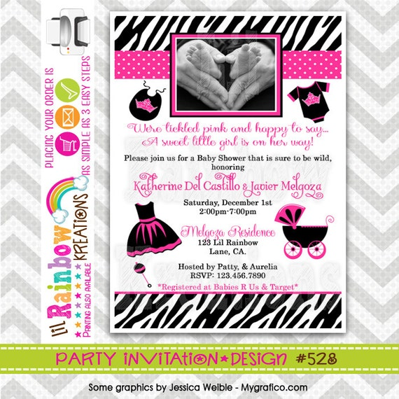528: DIY Zebra Print And Hot Pink Party Invitation Or Thank