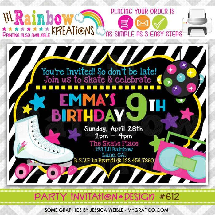 612: DIY Zebra Print Skate Party Invitation Or Thank You