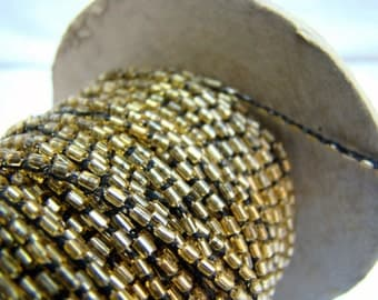 Vintage gold beaded crochet yarn cord for fiber arts, bead embroidery, and quilting - 5 yards