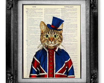 Tabby Cat Painting, British Decor, London Art, London Art Print, London Print, Union Jack Flag Poster, London Gift, British Flag Wall Decor