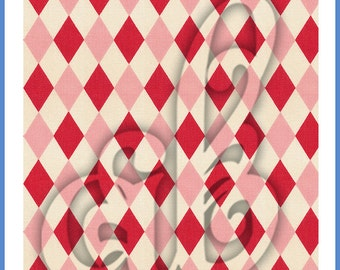 Digital Image of Vintage Fabric, Red and Pink Harlequin Diamonds. Great for Backgrounds!