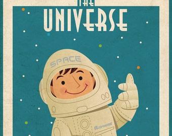 Vintage Space Poster Astronaut 50x70 Cm