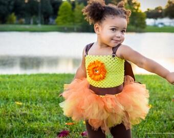 Orange, Brown and Yellow Fall Tutu Dress, Fall Tutu Dress, Autumn Tutu Dress, Girls Fall Dress, Baby Tutu Dress, Toddler Tutu Dress
