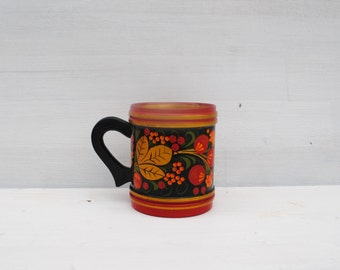 vintage wood mug handmadeURSS black red gold