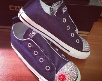 Navy Blue Low Top Bling Converse Velcro