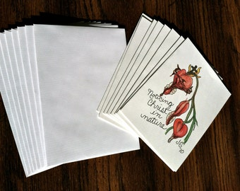 Cards - Noticing Christ in Nature - Bleeding Heart Plant in Bloom - Pack of 8 with Envelopes, Story Insert, and Plastic Sleeve