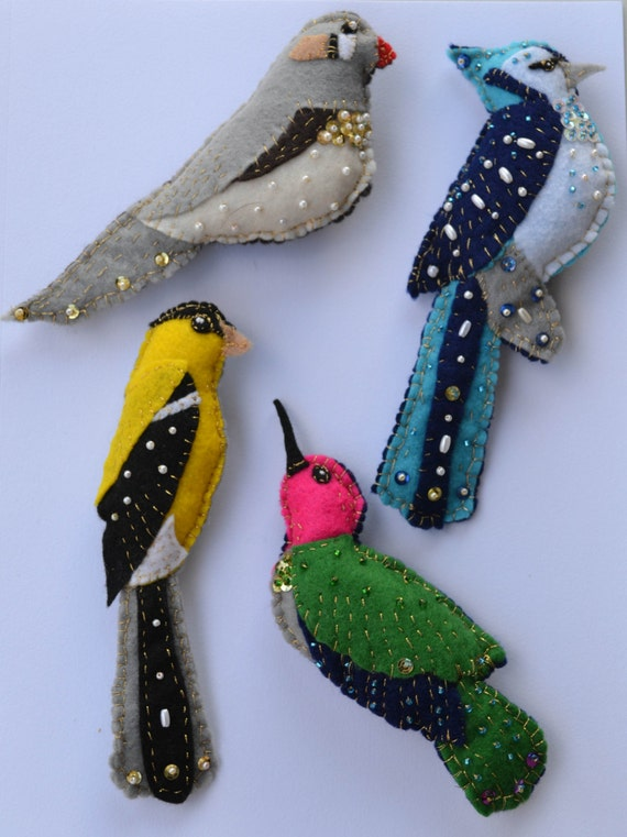 Items Similar To Handsewn Beaded Felt Ornaments On Etsy