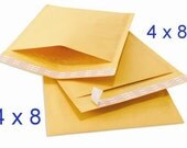 50, 4 x 8 Kraft Bubble Mailer Self Seal Padded Envelopes size 000, Bubble Envelope, Small Bubble Mailer