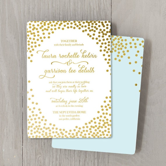 items similar to confetti gold foil custom wedding With personalised foil wedding invitations